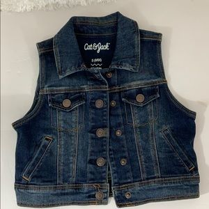 Denim Jean vest Kate and Jack girls size S6/6X